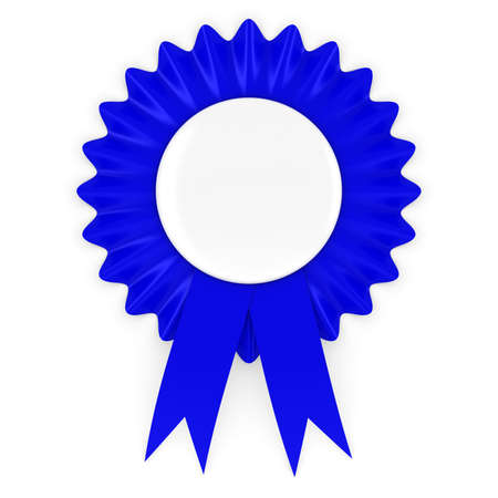 conservative: Blue Rosette with Blank White Badge 3D Illustration