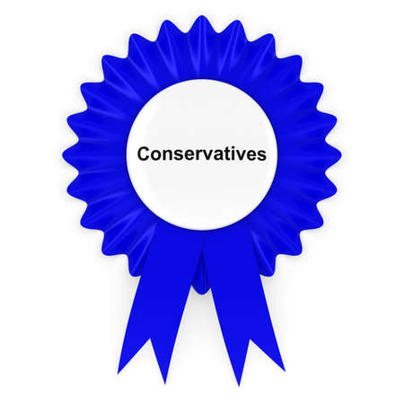 conservatives: Conservative Party Rosette Badge 3D Illustration