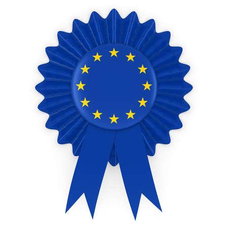 european union flag: European Union Flag Badge Rosette 3D Illustration Stock Photo