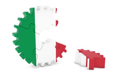 床 3 D イラストレーションの作品とイタリア国旗歯車パズル