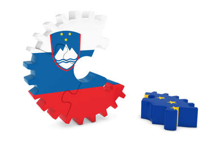 relations: Slovenia and Europe Relations Concept 3D Cog Flag Puzzle Illustration