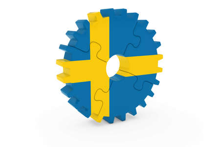 スウェーデン企業コンセプト - スウェーデン 3 D Cog ホイール パズル イラストの旗 写真素材