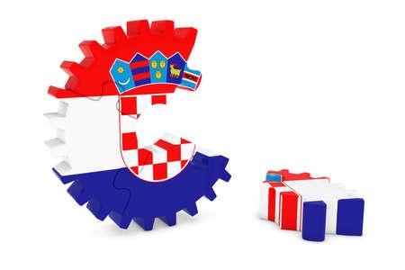 croatian: Croatian Flag Gear Puzzle with Piece on Floor 3D Illustration Stock Photo