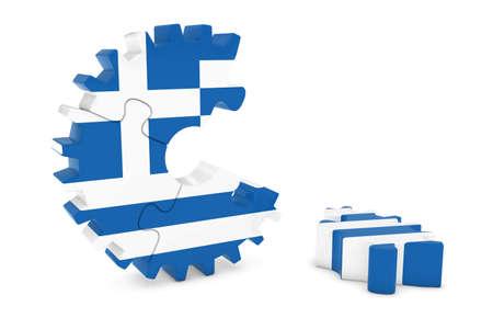 greek flag: Greek Flag Gear Puzzle with Piece on Floor 3D Illustration