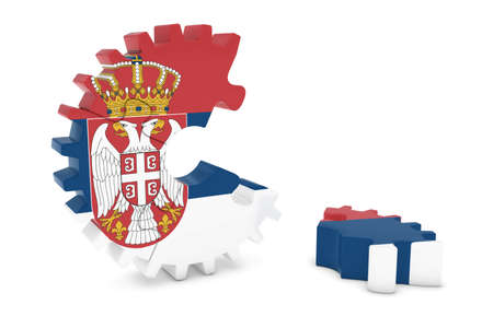 serbian: Serbian Flag Gear Puzzle with Piece on Floor 3D Illustration Stock Photo