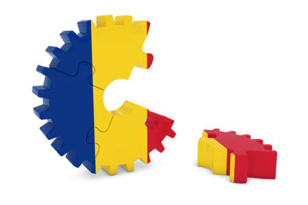 romanian: Romanian Flag Gear Puzzle with Piece on Floor 3D Illustration Stock Photo