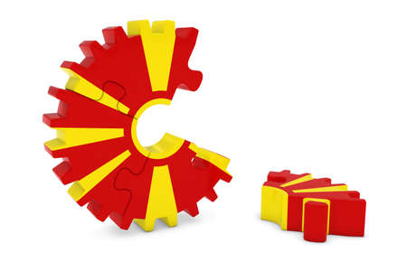 macedonian flag: Macedonian Flag Gear Puzzle with Piece on Floor 3D Illustration Stock Photo