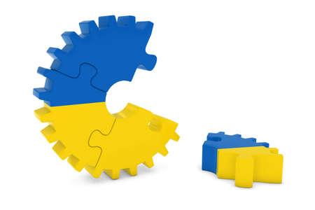 ukrainian flag: Ukrainian Flag Gear Puzzle with Piece on Floor 3D Illustration Stock Photo
