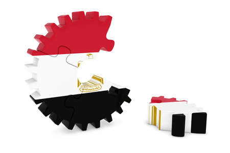 床 3 D イラストレーションの作品とエジプトの旗歯車パズル