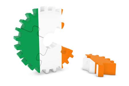 床 3 D イラストレーションの作品とアイルランドの旗歯車パズル 写真素材
