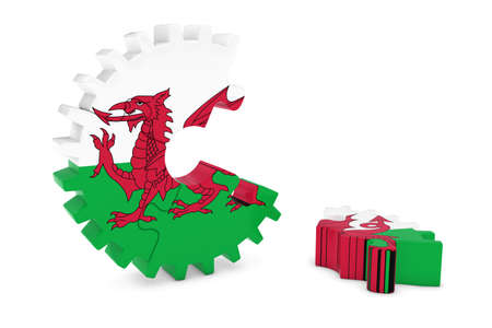 welsh flag: Welsh Flag Gear Puzzle with Piece on Floor 3D Illustration
