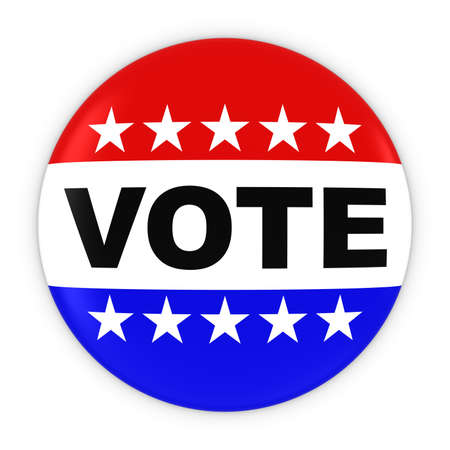 voters: Vote United States Elections Red White and Blue Button 3D Illustration