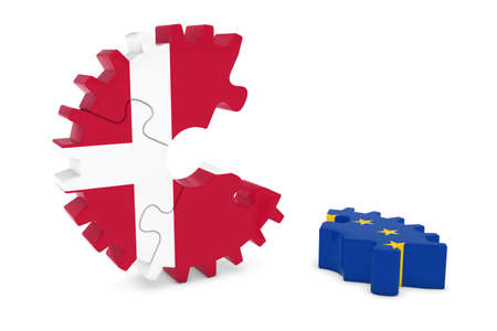 relations: Denmark and Europe Relations Concept 3D Cog Flag Puzzle Illustration