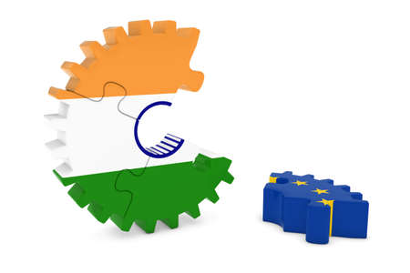 relations: India and Europe Relations Concept 3D Cog Flag Puzzle Illustration Stock Photo