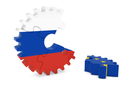 relations: Russia and Europe Relations Concept 3D Cog Flag Puzzle Illustration Stock Photo