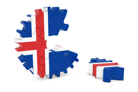 icelandic flag: Icelandic Flag Gear Puzzle with Piece on Floor 3D Illustration Stock Photo