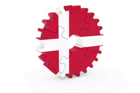 danish flag: Danish Industry Concept - Flag of Denmark 3D Cog Wheel Puzzle Illustration