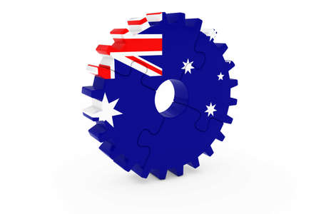 オーストラリアの産業コンセプト - オーストラリア 3 D Cog ホイール パズル イラストの旗