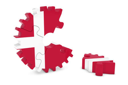 danish flag: Danish Flag Gear Puzzle with Piece on Floor 3D Illustration
