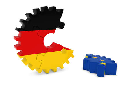 relations: Germany and Europe Relations Concept 3D Cog Flag Puzzle Illustration Stock Photo