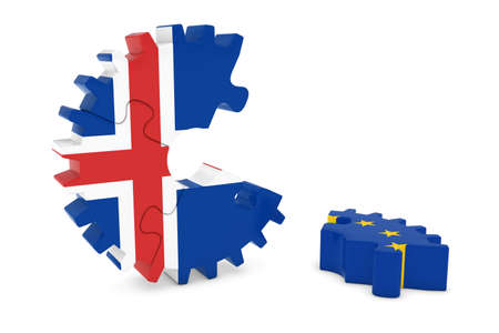 relations: Iceland and Europe Relations Concept 3D Cog Flag Puzzle Illustration