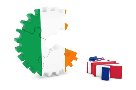 relations: Ireland and United Kingdom Relations Concept 3D Cog Flag Puzzle Illustration Stock Photo
