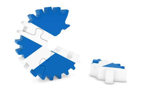 scottish flag: Scottish Flag Gear Puzzle with Piece on Floor 3D Illustration