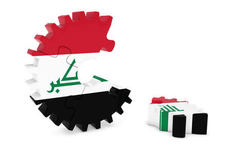 iraqi: Iraqi Flag Gear Puzzle with Piece on Floor 3D Illustration Stock Photo