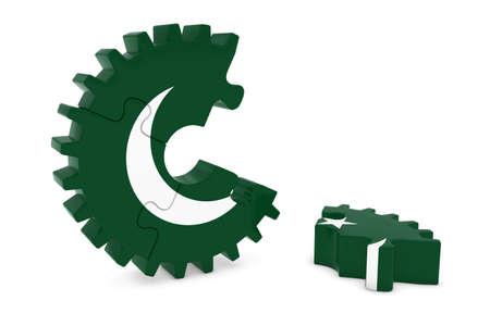 pakistani: Pakistani Flag Gear Puzzle with Piece on Floor 3D Illustration Stock Photo