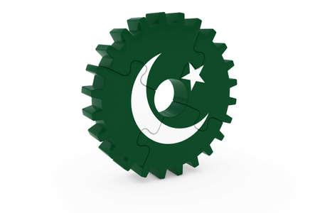 pakistani pakistan: Pakistani Industry Concept - Flag of Pakistan 3D Cog Wheel Puzzle Illustration Stock Photo
