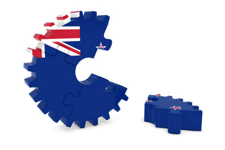 new zealand flag: New Zealand Flag Gear Puzzle with Piece on Floor 3D Illustration