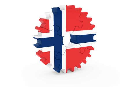 ノルウェー産業コンセプト - ノルウェー 3 D Cog ホイール パズル イラストの旗