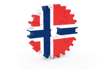 norwegian flag: Norwegian Industry Concept - Flag of Norway 3D Cog Wheel Puzzle Illustration Stock Photo