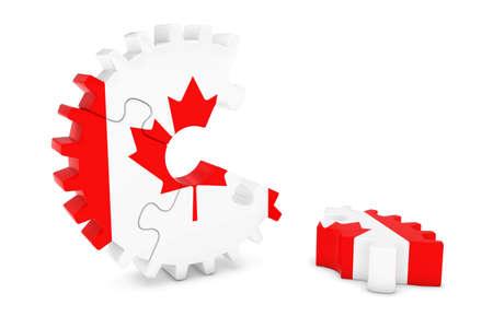 床 3 D イラストレーションの作品とカナダ国旗歯車パズル