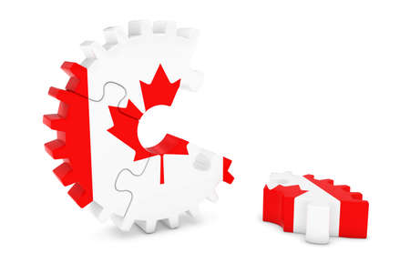 canadian flag: Canadian Flag Gear Puzzle with Piece on Floor 3D Illustration Stock Photo