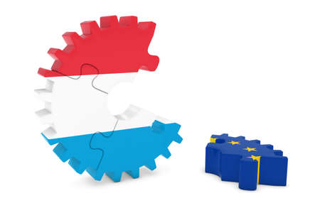relations: Luxembourg and Europe Relations Concept 3D Cog Flag Puzzle Illustration