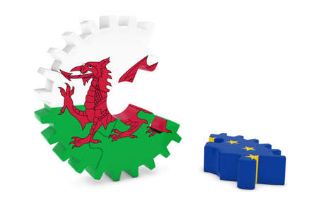 relations: Wales and Europe Relations Concept 3D Cog Flag Puzzle Illustration Stock Photo