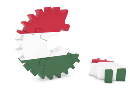hungarian: Hungarian Flag Gear Puzzle with Piece on Floor 3D Illustration