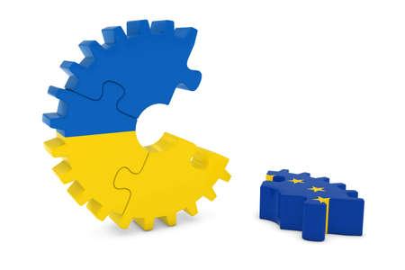 relations: Ukraine and Europe Relations Concept 3D Cog Flag Puzzle Illustration