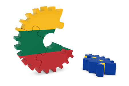 relations: Lithuania and Europe Relations Concept 3D Cog Flag Puzzle Illustration Stock Photo