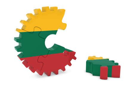床 3 D イラストレーションの作品とリトアニア国旗歯車パズル