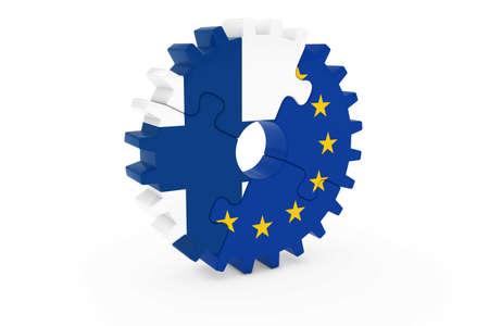 finnish: Finnish and European Cooperation Concept 3D Illustration