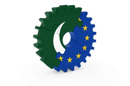 pakistani: Pakistani and European Cooperation Concept 3D Illustration Stock Photo