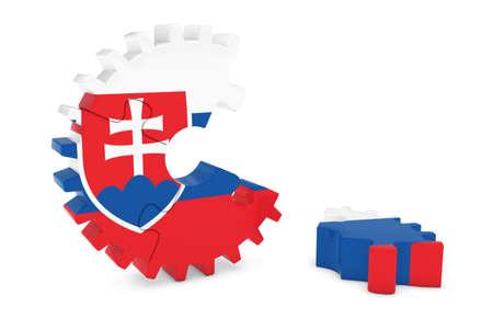 床 3 D イラストレーションの作品とスロバキア旗歯車パズル