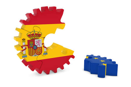 relations: Spain and Europe Relations Concept 3D Cog Flag Puzzle Illustration