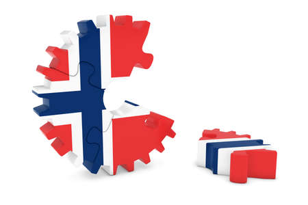 norwegian flag: Norwegian Flag Gear Puzzle with Piece on Floor 3D Illustration