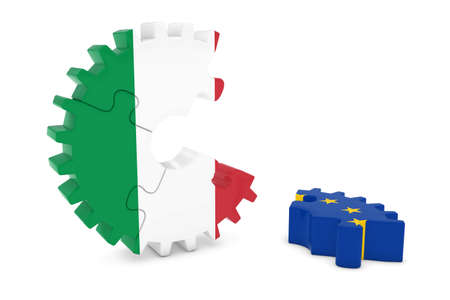 relations: Italy and Europe Relations Concept 3D Cog Flag Puzzle Illustration