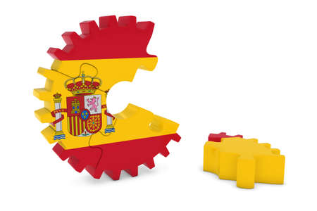 spanish flag: Spanish Flag Gear Puzzle with Piece on Floor 3D Illustration Stock Photo