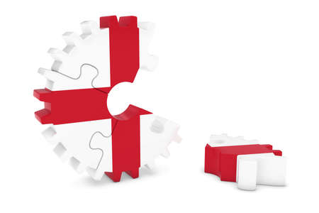bandera inglesa: English Flag Gear Puzzle with Piece on Floor 3D Illustration