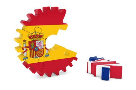kingdom of spain: Spain and United Kingdom Relations Concept 3D Cog Flag Puzzle Illustration